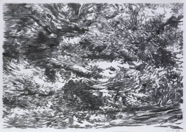 Meng Huang, Clouds 2, 2013; charcoal on paper, 77x109cm