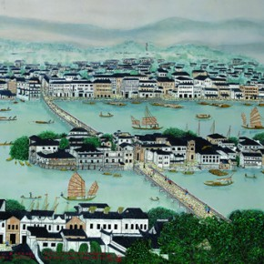 "Qiao Shiguang Fuzhou Libration Bridge in the 1960s 180x90cm 290x290 - The National Art Museum of China presents ""Lacquer Arts – 2014 Cross-Strait Lacquer Arts Exhibition"""