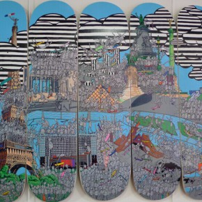Wu Di, Paris Map on Skateboards, 2014; skateboards, 75x100cm