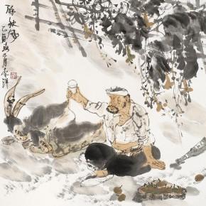"""04 Li Yang, """"Drunk in the Autumn Wind"""", 68 x 68 cm, 2005"""