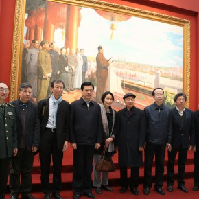 """10 Photo of leaderships and honor guests in front of the painting """"Founding Ceremony""""  290x290 - """"The Oil Painting of Chinese Style – Retrospective Exhibition of Dong Xiwen"""" was inaugurated"""