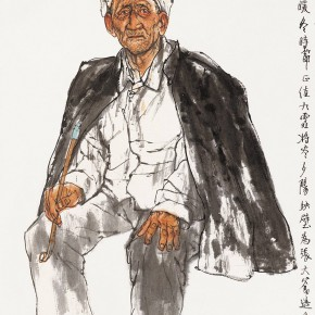 "106  Li Yang, ""The Sketch in the Class (Uncle Zhang from Hebei)"", 136 x 68 cm, 1995"
