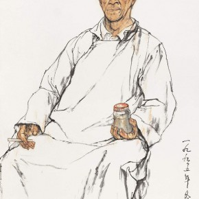"108 Li Yang, ""The Sketch in the Class (The Senior Wearing a Gown)"", 136 X 68 cm, 1995"