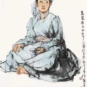 "110 Li Yang, ""Painting a Mongolian Girl"", 136 x 68 cm, 2002"