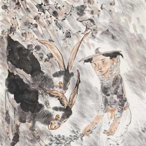 """16 Li Yang, """"Xintianyou, My Home Locates in Sanshilipu of Suide"""", 136 x 68 cm, 2005"""