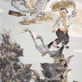 "26  Li Yang, ""Amorous Feelings of the Mountain Village"", 136 x 68 cm, 2011"