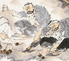"""29 Li Yang, """"Happy Autumn Figure"""", 136 x 34 cm, 2006"""