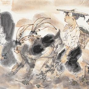 "48 Li Yang, ""Drunk in the Golden Autumn Figure"", 136 x 34 cm, 2006"