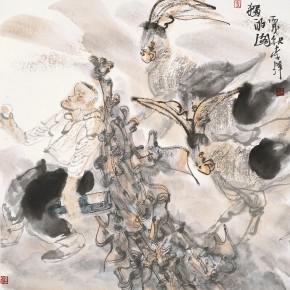 "51 Li Yang, ""Drinking Alone Figure"", 68 x 68 cm, 2006"