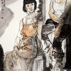 "80  Li Yang, ""Two Girls Sitting"", 180 x 90 cm, 2009"