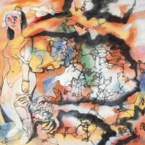 "84  Li Yang, ""Spring Buds"", 68 x 68 cm, 1994"