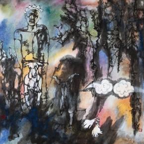 "85 Li Yang, ""Spring Tree"", 68 x 68 cm, 1993"