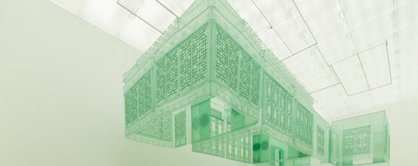 Do Ho Suh, Seoul Home, 2012; silk, metal structures, 1457x717x391cm