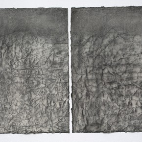 Feng Lianghong, The mountain, 2013;  charcoal on paper, 68x48 cm