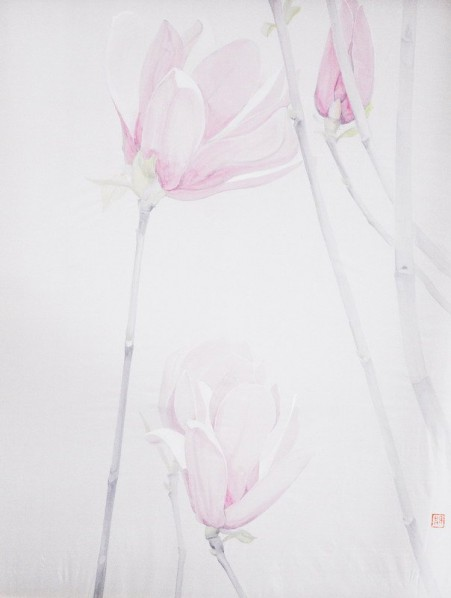 Li Guanguan, Half· Magnolia 1, 100x80cm,Ink color on silk, 2014