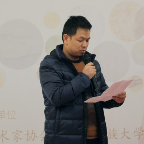 "Liu Zhongjun addressed at the opening ceremony on behalf of the artists 290x290 - ""Exhibition of the Selected Works by the Ethnic Minority Young Artists in Western China"" grandly opened at Yan Huang Art Museum"