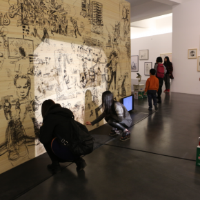 "Visitors drew their paintings at the interactive zone 01 290x290 - Research Exhibition ""Draw: Mapping Madness"" Opened at Inside-Out Art Museum in Beijing"