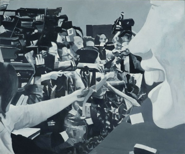 Ye Henggui, Press conference, 2013; oil on canvas, 130x160cm