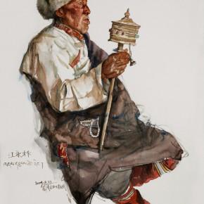 "01 Li Xiaolin, ""The Senior Man with a Prayer Wheel"", watercolor, 76 x 57 cm, 2009"