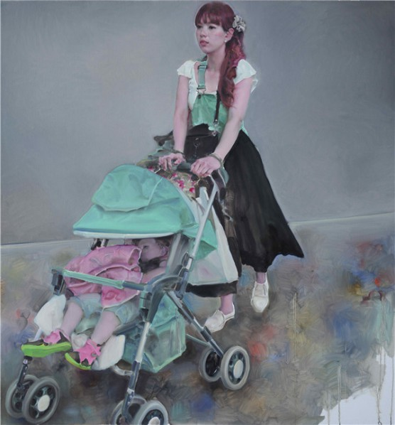"""Pang Maokun, """"The Visitor No.5"""", oil on canvas, 160 x 150 cm, 2014"""