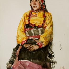 """04 Li Xiaolin, """"The Actress Caiyang from Yushu"""", watercolor, 76 x 57 cm, 2009"""