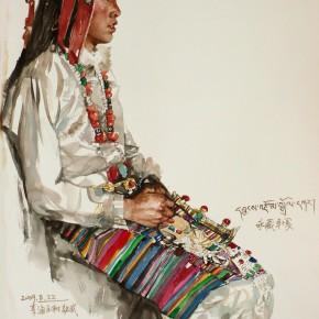 """05  Li Xiaolin, """"Yongcangzhuoga"""", watercolor, 77 x 57 cm, 2009"""