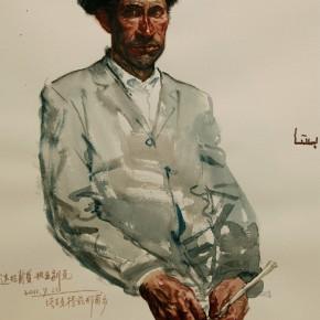 """06 Li Xiaolin, """"Ying Flute Player Dalapuxia"""", watercolor, 54 x 48 cm, 2011"""