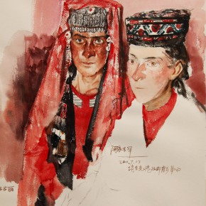 "08 Li Xiaolin, ""The Tajik Bride"", watercolor, 54 x 48 cm, 2011"