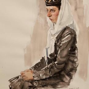 """09 Li Xiaolin, """"The Tajik Dancer"""", watercolor, 54 x 48 cm"""