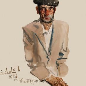 """10 Li Xiaolin, """"The Tajik Man Amanxia"""", watercolor, 54 x 48 cm, 2011"""