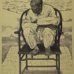 """102 Li Xiaolin, """"The Village Head"""", drawing, 78 x 58 cm, 1990"""