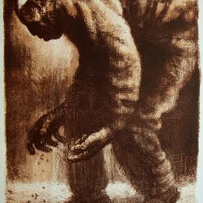 "103 Li Xiaolin, ""The Man Sowing Seeds"", lithograph, 50 x 70 cm, 1999"