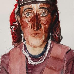 """11 Li Xiaolin, """"The Tajik Woman"""", watercolor, 54 x 48 cm, 2011"""