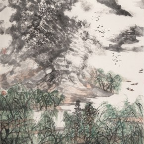 12 Li Naizhou Bathing Horses in the Spring Creek 137 x 68 cm 2014 290x290 - Landscape as the Medium–Nationwide Famous Artists of Chinese Painting and Drawing Exhibition in Guilin