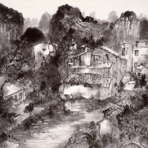 13 Li Tiesheng Sketch of Yangshuo ink and wash on paper 47.5 x 59 cm 2013 290x290 - Landscape as the Medium–Nationwide Famous Artists of Chinese Painting and Drawing Exhibition in Guilin