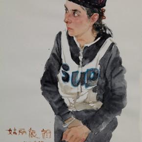 "13 Li Xiaolin, ""The Girl Gulihenzu"", watercolor, 54 x 48 cm, 2011"