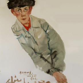 """14 Li Xiaolin, """"The Boy Kuerbanbike"""", watercolor, 54 x 48 cm, 2010"""