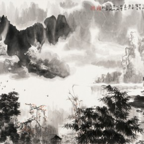 14 Meng Xianqi Song of Li River Figure 68.5 x 137 cm 290x290 - Landscape as the Medium–Nationwide Famous Artists of Chinese Painting and Drawing Exhibition in Guilin