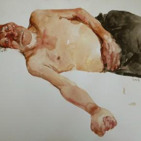 """15 Li Xiaolin, """"Declining Years"""", watercolor, 38 x 46 cm, 2007"""