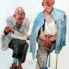 """16 Li Xiaolin, """"The Old Brothers"""", watercolor, 54 x 47 cm, 2008"""