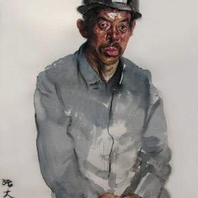 """17  Li Xiaolin, """"The Miner Zhang Dahai"""", watercolor, pastel, 46 x 38 cm, 2007"""