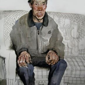 "18 Li Xiaolin, ""The Miner Li Erhai"", watercolor, pastel, 41 x 33 cm, 2006"