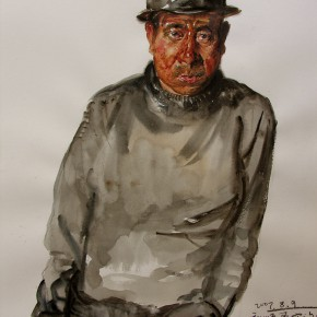 """19 Li Xiaolin, """"The Miner of the Pithead"""", watercolor, pastel, 54 x 47 cm, 2007"""