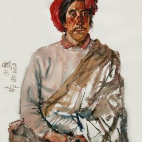 "20 Li Xiaolin, ""A Kamba Man"", watercolor, 54 x 48 cm, 2011"
