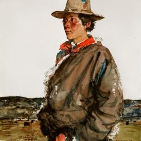 """22 Li Xiaolin, """"Jiajue's Prairie"""", watercolor, 54 x 48 cm, 2011"""