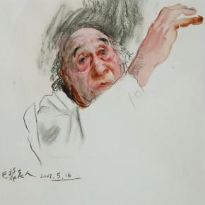 "23 Li Xiaolin, ""The Senior Man from France"", watercolor, charcoal, 46 x 38 cm, 2007"