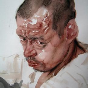 "24 Li Xiaolin, ""Staring"", watercolor, pastel, 54 x 47 cm, 2006"