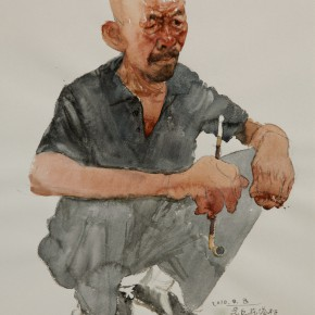 """25 Li Xiaolin, """"The Village Head"""", watercolor, 54 x 47 cm, 2010"""