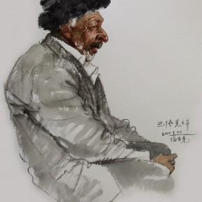 """26 Li Xiaolin, """"Uncle Bayike"""", watercolor, 54 x 48 cm, 2010"""