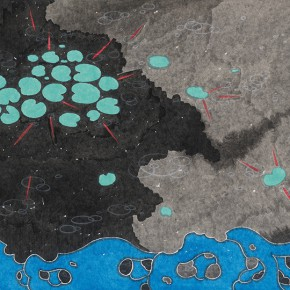 "26 Liu Qi ""The Pond"" color on paper 97 x 180 cm 2014 290x290 - The Press Conference of ""Image Study–The Logic of Presentation in the Wash and Ink Process"" Held at the Rightview Art Museum"